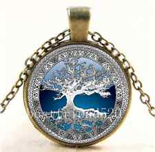 Vintage Celtic Silver/Blue Tree Of Life Glass Cabochon Bronze Chain Necklace