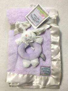 NWT Blankets & Beyond Lavender Purple Plush Bunny Rabbit Blanket Rattle Set