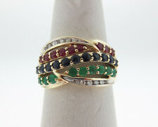 Natural Rubies Blue Sapphires Emeralds Diamonds Solid 14k Yellow Gold Ring Band