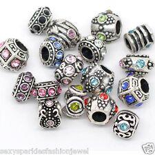 10PCs Mixed Silver Tone Rhinestone European Charm Spacer Beads Fit Bracelets