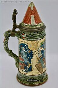 Superb 1 L Art Nouveau Mettlach Villeroy Boch Bier Stein Schlitt Thirsty Knight