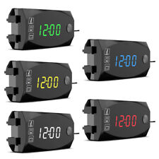Motorcycle Clock Led Digital Thermometer Voltmeter Time Electronic Car Display