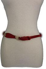 Women Belt Fashion Orange Red Beige Braided Faux Leather Narrow Gold Buckle S M