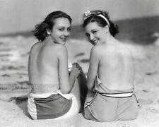Vintage 1929 Photo Beautiful Topless Sunbathing Girls Old Hollywood Celebrities