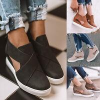Women Cut Out Sandals Wedge Platform Heel Zipper Cross Strap Pumps Summer Shoes