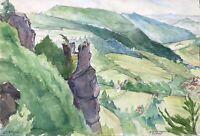 Aquarell Impressionist Blick auf Muggendorf Wiesenttal signiert datiert