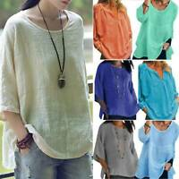 Plus Size Women Long Sleeve T-Shirt Blouse Plain Casual Loose Tops Tee Shirts