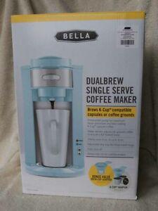 NRFB Bella ROBIN EGG BLUE DualBrew Single Serve K Cup COFFEE MAKER MIB