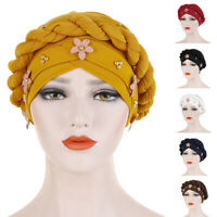 Muslim Women Chemo Cap Braid Scarf Head Wrap Turban Hat Beads Flower Bonnet Arab
