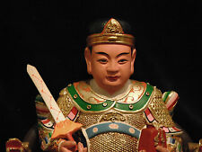 Most interesting Taoist Statue Rarely Seen Qian Gu Fu Hard Carved Wood Gold Gilt