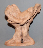 ANTIQUE EUROPEAN ABSTRACT CLAY REDWARE HAND MADE FIGURINE