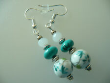 Vintage Art Deco Style Turquoise Crystal & Ceramic Long Earrings Not On High St