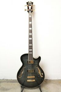 D'Angelico Excel Bass Semi-Hollow Bass Guitar - Grey Black