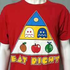 Pac Man 80s Classic Video Arcade Game Large T-Shirt Eat Right Diet Food Pyramid