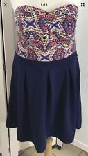 Strapless Dress Nautical Blue Skirt Multi Color Heart Shaped Top XXL Cruise