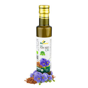 Certified Organic Cold Pressed Flax Seed Oil 250ml Biopurus