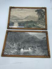 Antique  2X Steel Engravings  Gold  Small Frames 1800's Art  Print