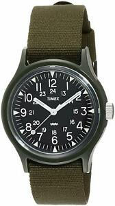 Timex Original Vietnam Campers 36mm Black Dial Khaki Nylon Strap Watch New