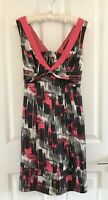 Ted Baker Shift Dress Size 2 UK 8 10 Pink Black White Womens 100% Silk Summer