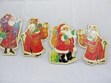 4 Vintage Merrimack Old World Santa Claus Die Cut Cardboard Christmas Ornaments