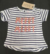 NEW COTTON ON Baby Girl Tshirt Top MERRY  Xmas Size 0 6-12 Month XMAS Gift 💝