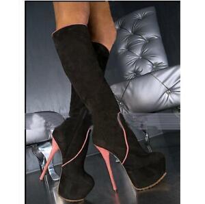 Sexy Gothic Ladies Suede Platform Knee High Boots Stilettos Heel Cosplay Shoes