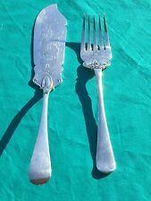 Antique Elkington & Co. Fish Set - Serving Knife & Fork Hand Chased Dolphin HUGE