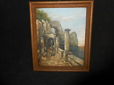 1908 A Kleinert Oil Canvas Painting Italian Woman  Columns Seaside Villa Frame