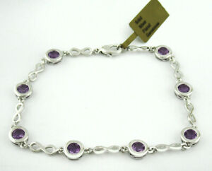 GENUINE 4.22 Cts AMETHYST TENNIS BRACELET SILVER PLATED * New With Tag *