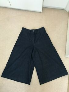 Marks and Spencer Navy Denim Wide Leg Cullottes Size 10 Regular New