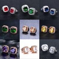 Fashion Stud Earrings for Women 925 Silver CZ Birthstone Jewelry Earrings Gift