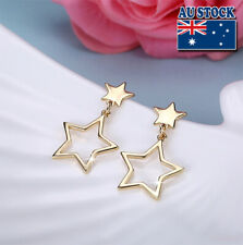 Classic Yellow Gold Filled Lovely Star Dangle Earrings Wedding