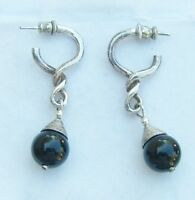Sterling Silver & Glass Dangle Earrings Posts