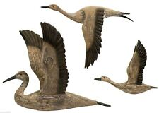 """3 Rustic Carved Migrating Birds Dimensional Pine Wood Wall Sculpture up to 23"""" H"""
