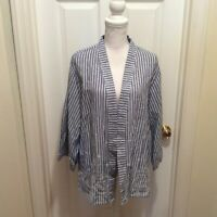 Symple NYC Top XL Blue-Gray White Striped Embroidered Open Front 3/4 Sleeve