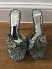 Silver FOOTWEAR PARTY SHOES 37 UK 4 With Clear Heels