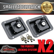 x2 Paddle Handle Lock Latch. Black Powdercoated. Caravan Boat Ute Truck Toolbox