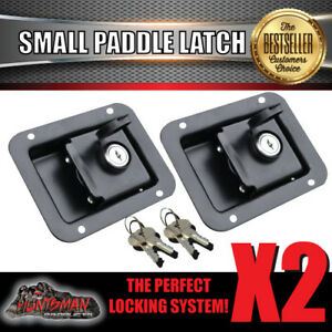 x2 Paddle Handle Lock Latch Black Powdercoated. Caravan Boat Ute Truck Toolbox