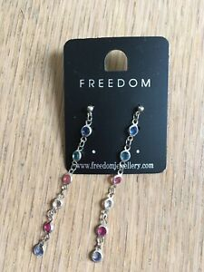 Freedom EARINGS dangly and diamanté colours