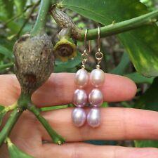 100% natural Purple freshwater pearl 14K Gold Filled earrings Original work AAA+