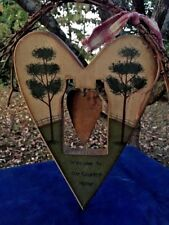 Primitive Rustic Metal Heart Plaque Wall Art WELCOME TO OUR COUNTRY HOME Deco ❤️