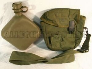 COLLAPSIBLE CANTEEN 2 QT QUART & OD COVER CARRIER & STRAP US Military Army VGC
