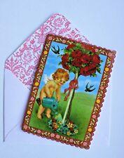 *PUNCH STUDIO Set of 2 Die-Cut Valentine Blank Note Cards ~Cherub ~The Rose Tree