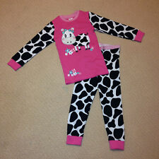 NWT Target Girls Pink Cow Cotton Long Sleeve Winter Pyjamas Sizes 1