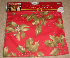 """Red and Green Mistletoe Christmas Holiday Table Runner 90"""" long by 13"""" wide"""