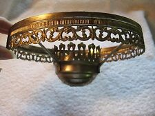 """Vintage Brass 8"""" Oil Lamp Shade Ring Holder With Fancy Filigree"""