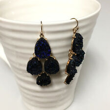 Gold Plated Shimmery Cobalt Blue Druzy Hook Dangle Bohemian Earrings