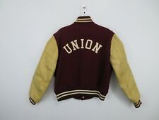 Vintage 50s 60s Champion Union College New York Wool Leather Bomber Jacket Men M