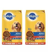 PEDIGREE Complete Nutrition Adult Dry Dog Food Steak Vegetable Value 2x50LB Bags