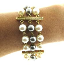 Nancy Nelson Gray and White Faux Pearl Crystal Bracelet Triple Strand 7-8 in